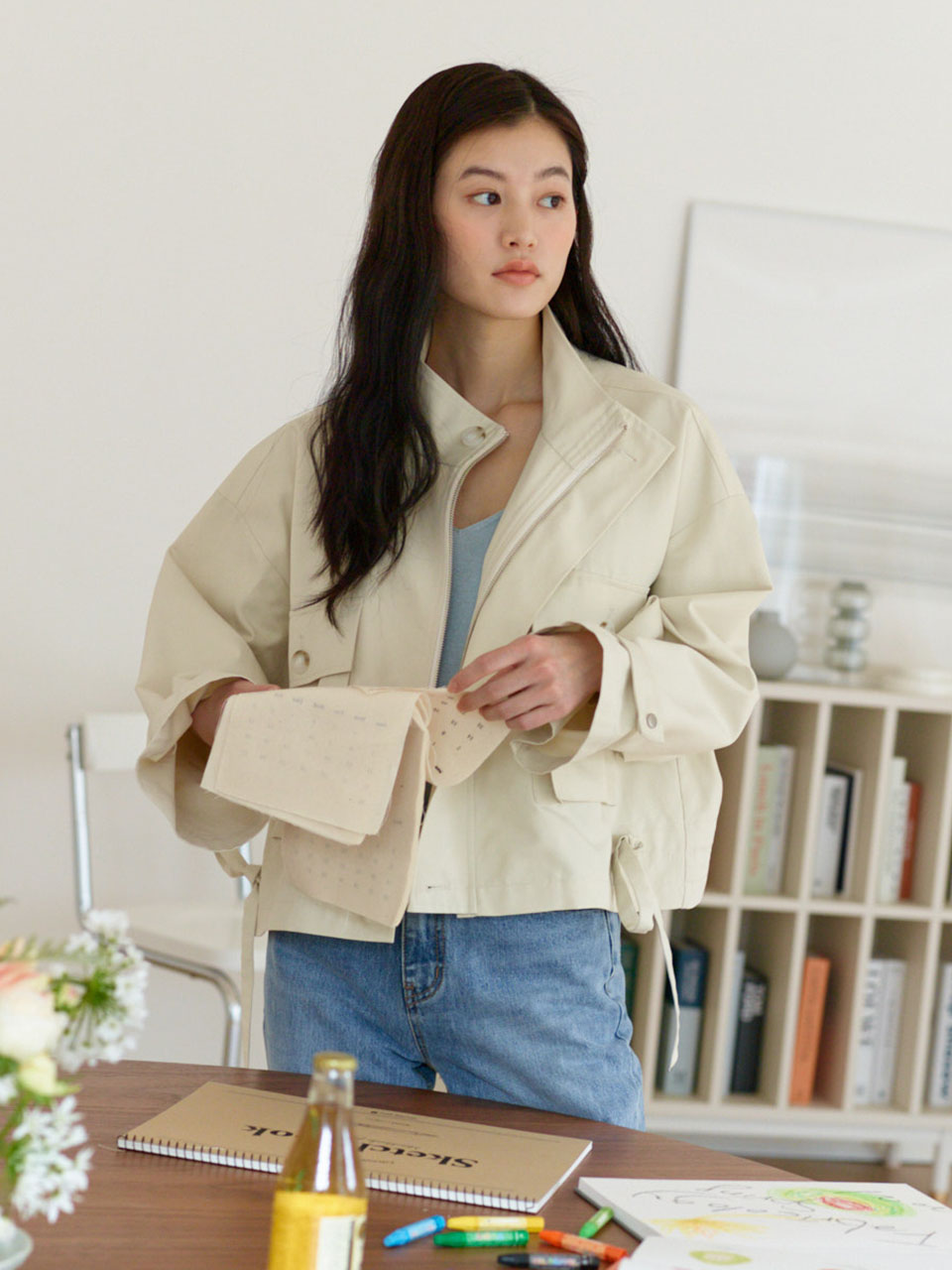 (5월6일예약배송)Basic Big Pocket Field Jacket_Ivory
