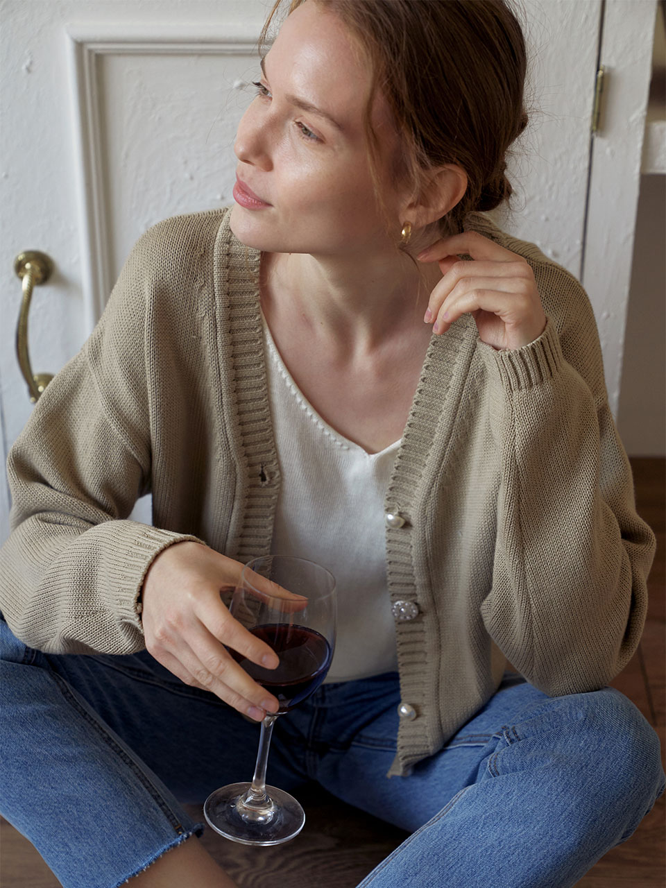 Cotton Knit Short Cardigan_Beige
