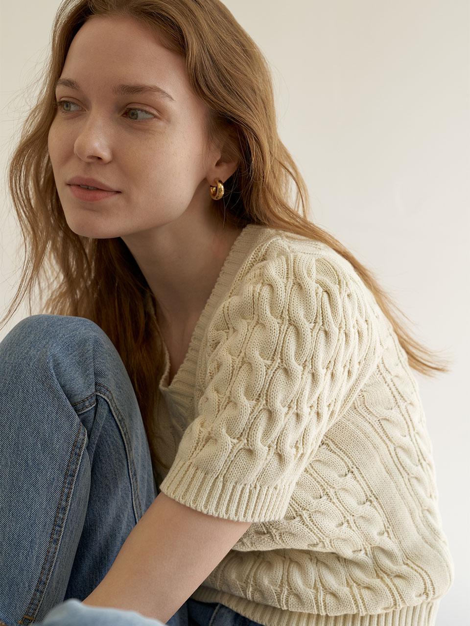 Short Sleeved Cable Knit_Ivory