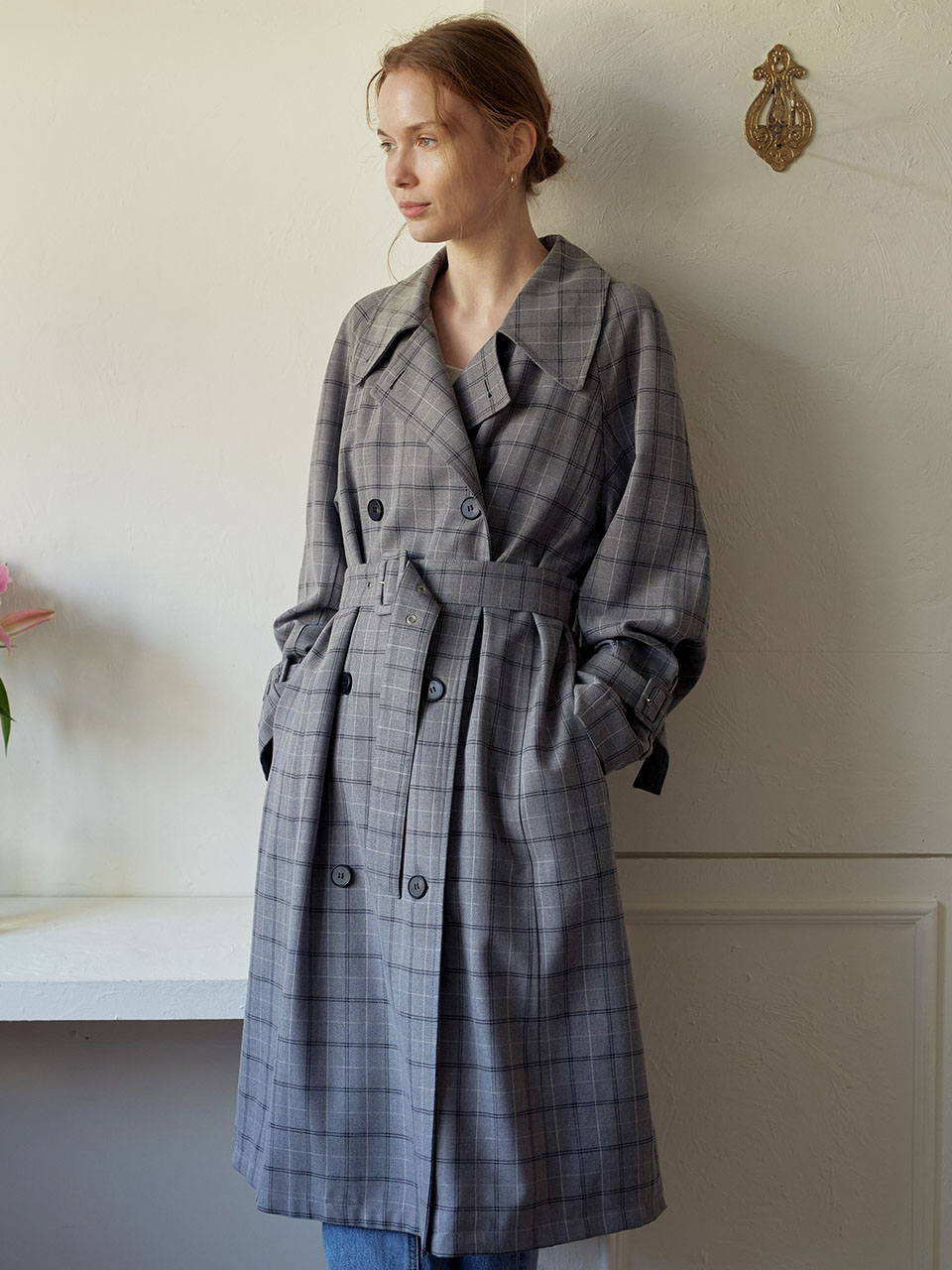 Long Basic Trench Coat_Grey Check