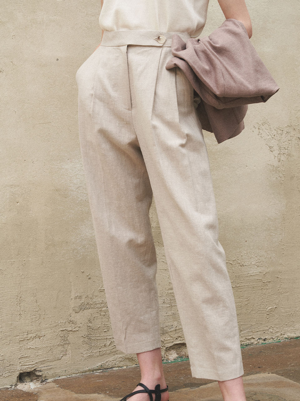 Linen Basic Pants_Light Beige