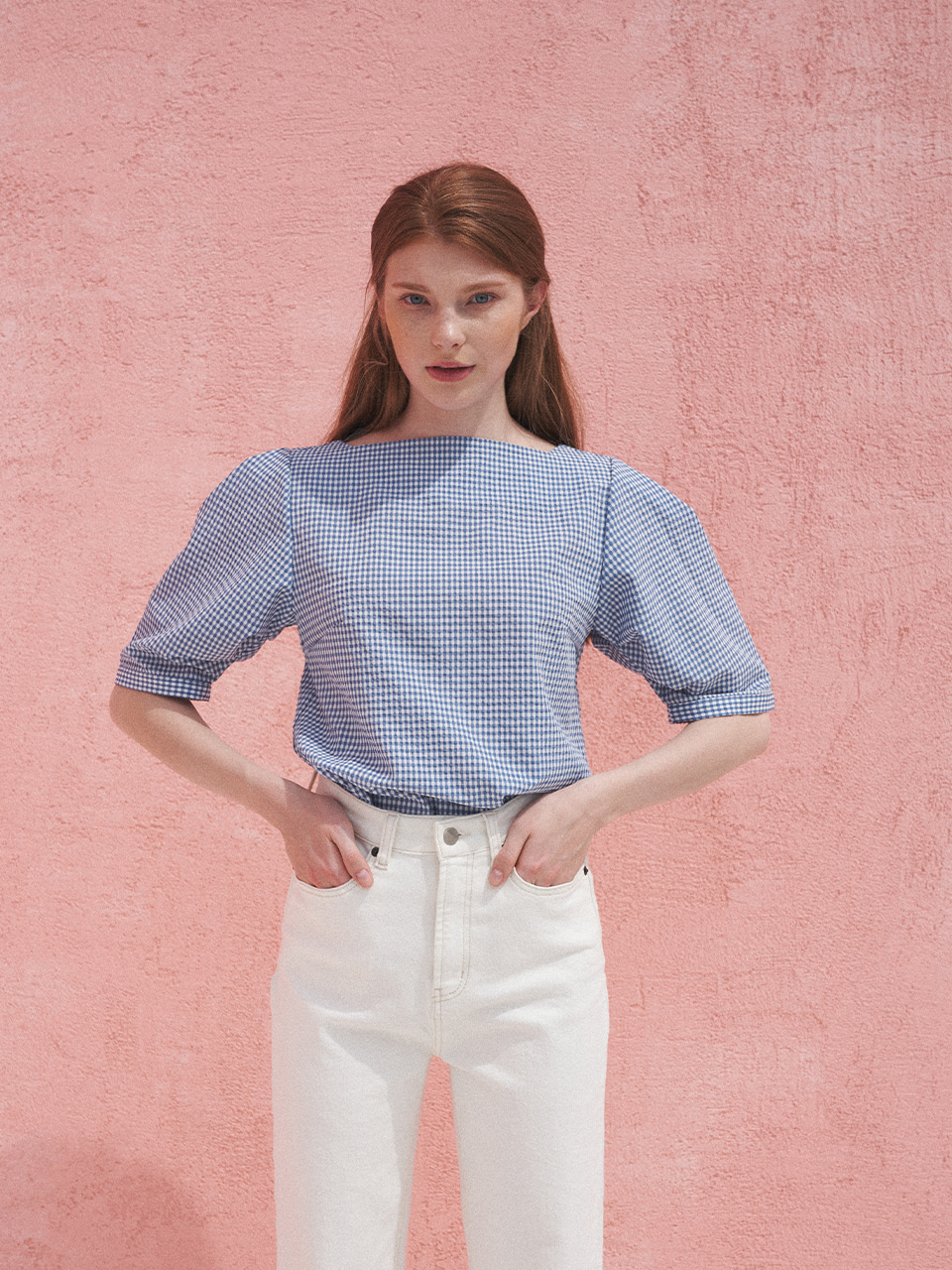 Square Neck Blouse_Blue