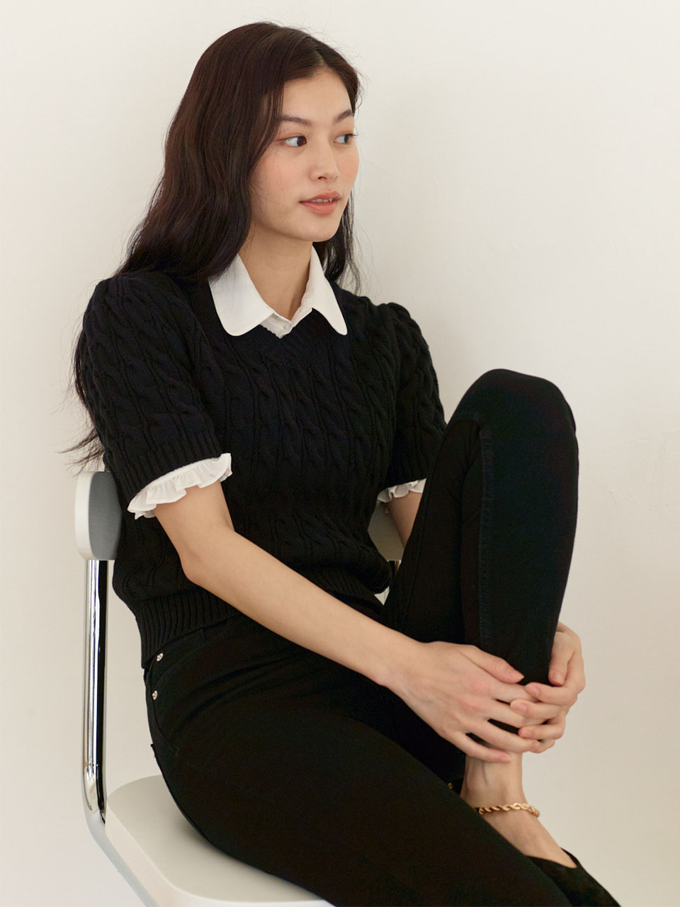 Short Sleeved Cable Knit_Black